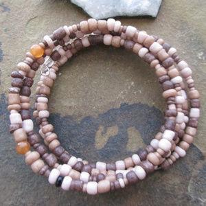 Peach & brown wood boho  memory wire bracelet 311